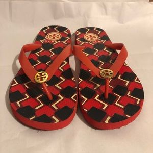 Tory Burch Flip Flops Red, Black And White Flats 9